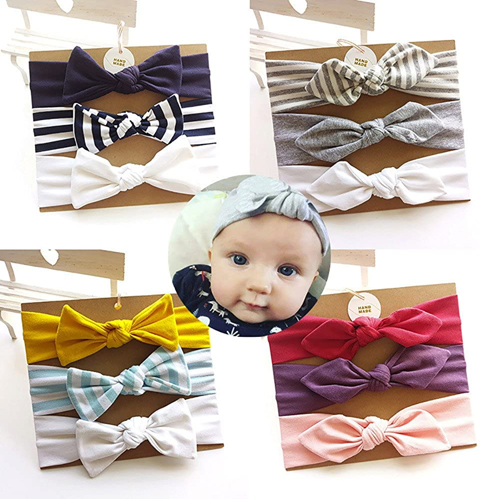Baby Headband Knotted Elastic Bowknot 3pcs Hair Band for baby girls toddler