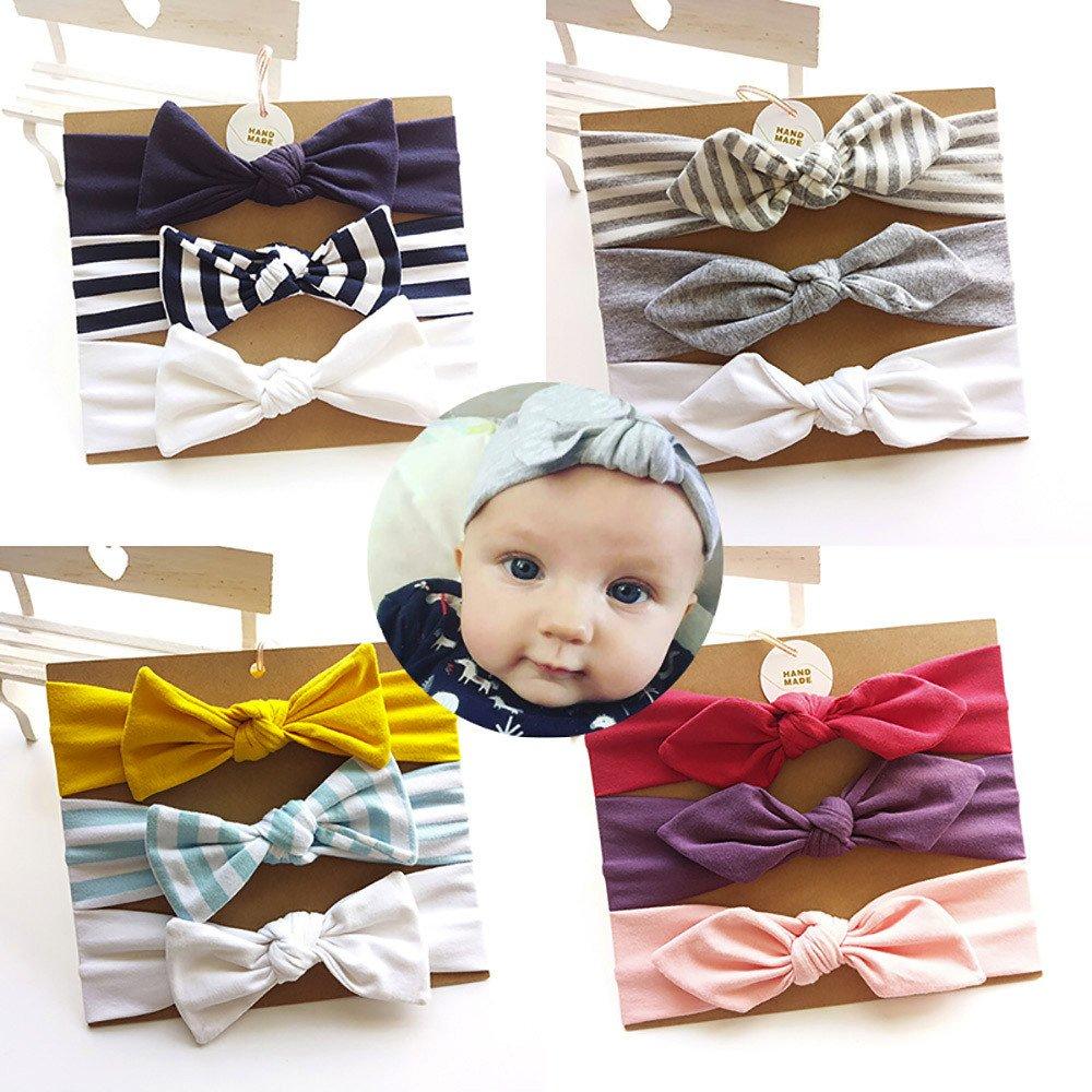 Huhu833 3 St/ück Baby Stirnb/änder Kinder Stirnband M/ädchen Baby Elastische Bowknot Zubeh/ör Haarband Set