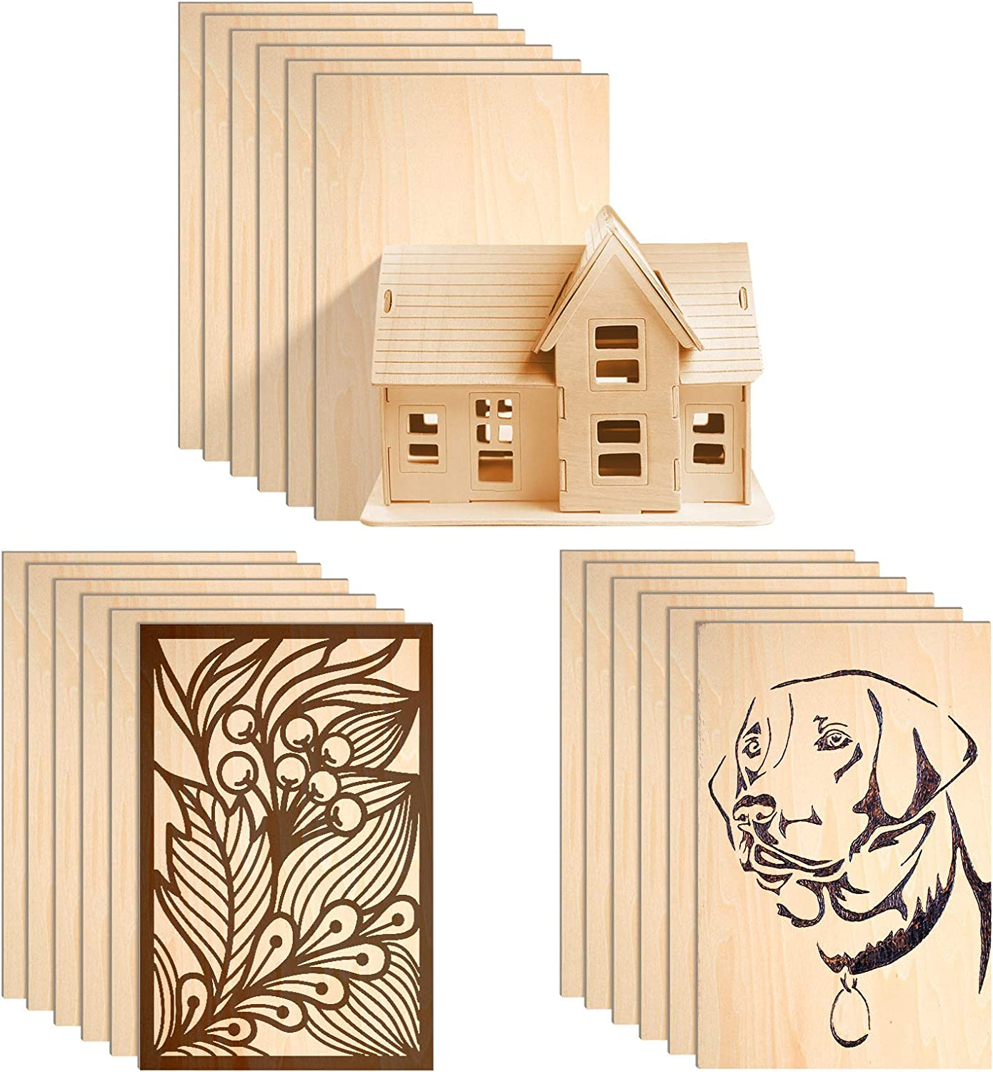 Pack of 15 Balsa Wood Sheets Unfinished Unpainted Basswood Thin Wood Sheets Hobby Wood MDF DIY Wood Board for Mini House Building Aircraft Ship Boat DIY Wooden Plate Model for Arts and Crafts School Projects 150x100x2mm