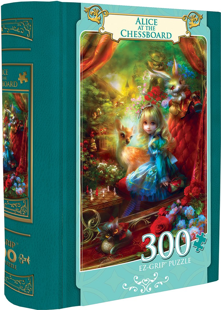 MasterPieces Alice at the Chessboard - Alice in Wonderland Large 300 Piece EZ Grip Book Box Jigsaw Puzzle