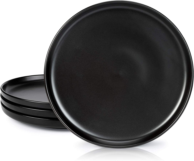 DANMERS Ceramic Dinner Plates Set,10 Inch Round Dish Sets for Salad,Dessert,Steak,Pasta,Set of 4,Black Matte
