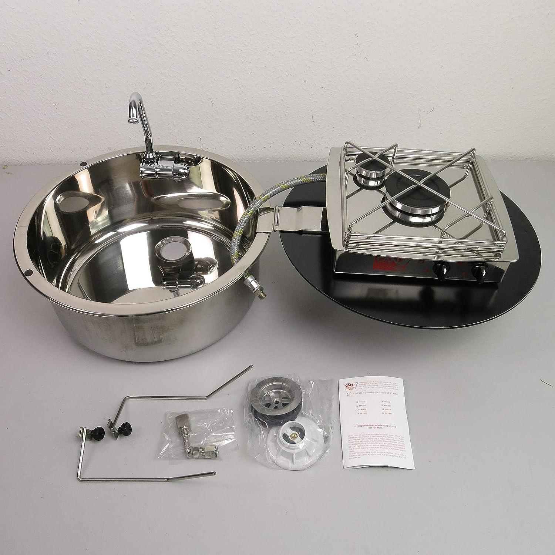 CAN - Hornillo de gas de 2 fuegos con fregadero de acero ...