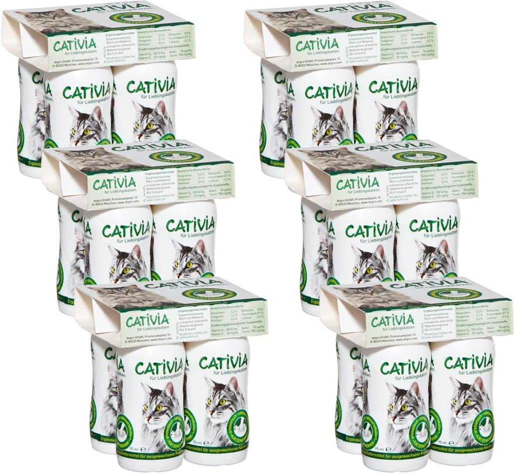 Dehner Cativia - Leche de Gato prebiótica, 6 x 4 Botellas (2,28 l)