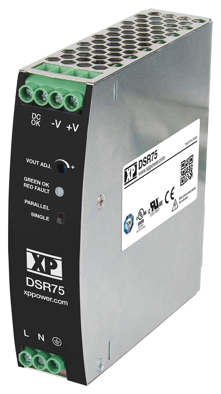 85~264VACin XP POWER DSR75PS12 Power Supply; AC-DC; DIN Rail; 75W; 12V@6.3A; Slim Line AdjVout Enclosed