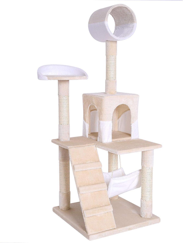 dibea Árbol rascador árbol para escalar árbol rascador para gatos Altura 133 cm beige/blanco