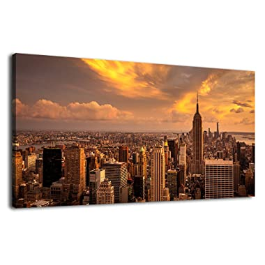 Large Canvas Wall Art Skyline Manhattan Sunset Scenery Contemporary Wall Art New York City Modern Canvas Artwork Long Canvas Picture Painting for Office Home Decoration Framed Ready to Hang 20  x 40