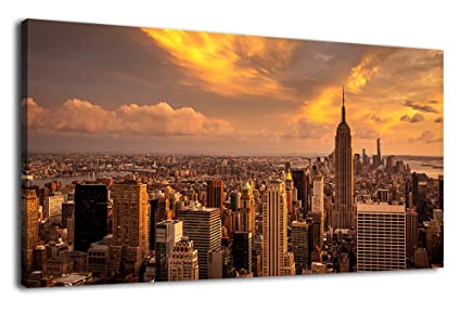 Artewoods Large Canvas Wall Art Manhattan Sunset Skyline Wall Art Pictures New York City Canvas Artwork Long Canvas Painting For Home Decoration
