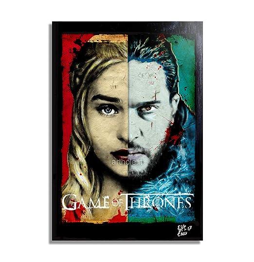 Daenerys Targaryen y Jon Snow de Game of Thrones (Juego de Tronos) - Pintura Enmarcado Original, Imagen Pop-Art, Impresión Póster, Impresion en ...
