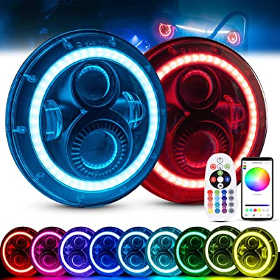 MICTUNING 7 Inch 80W Round RGB LED Headlight Halo Angel Eye with DRL High Low Beam Remote Bluetooth Control for Jeep Wrangler JK CJ TJ: Automotive