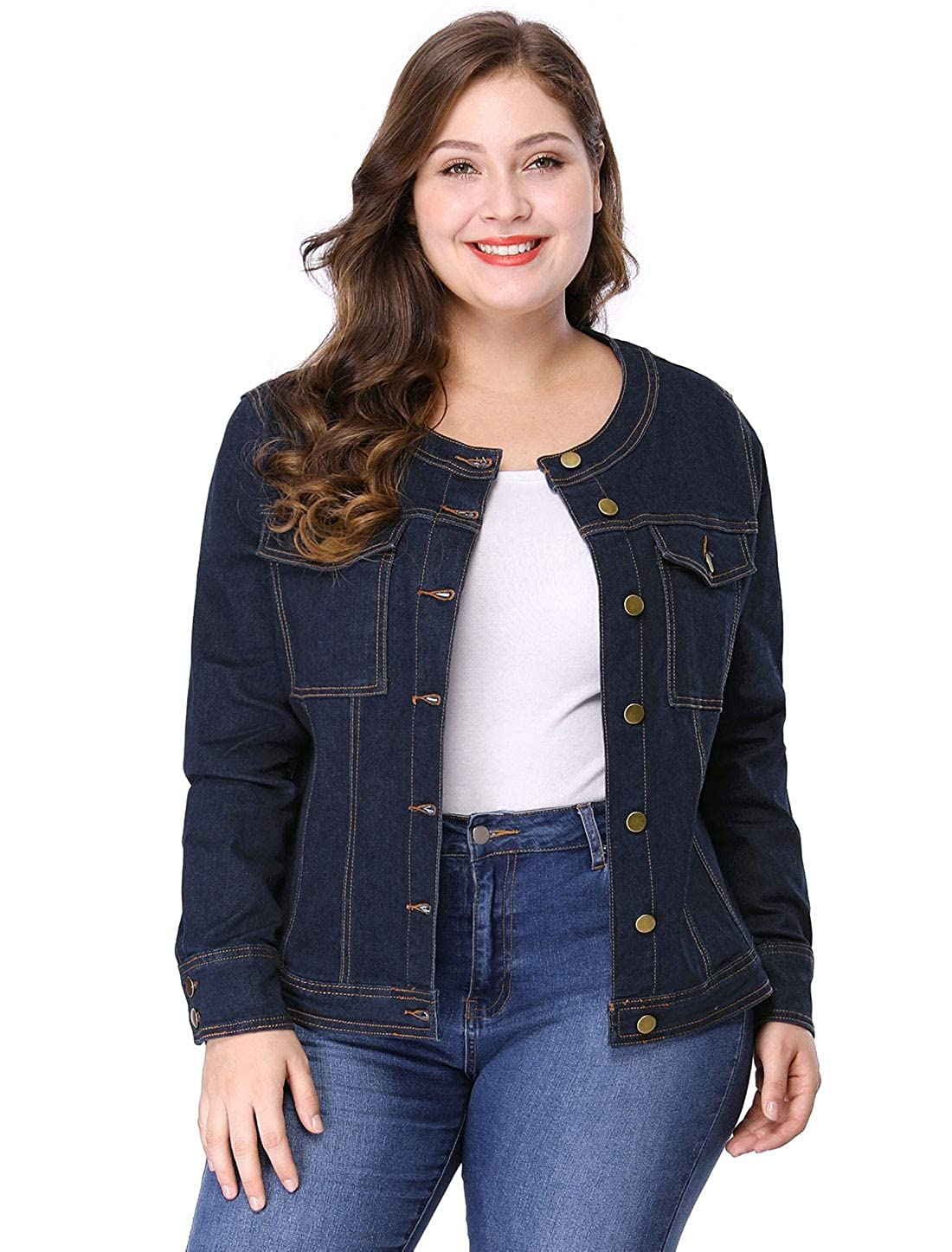 Agnes Orinda Women's Plus Size Long Sleeves Collarless Denim Jacket