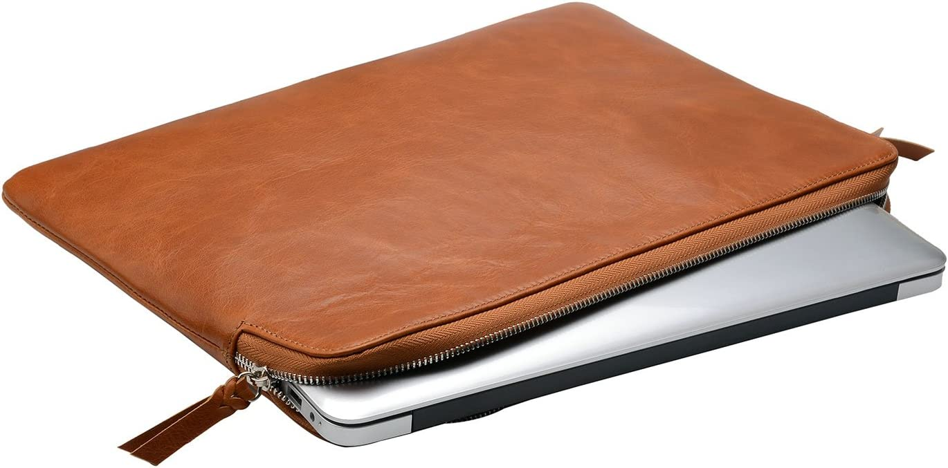 Leather Laptop Sleeve 13 inch, Leather Laptop Sleeve Case with Zipper for 13.5 inch Surface Book/ 13.3 MacBook Air/Pro
