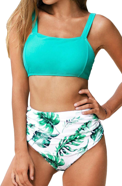 CUPSHE Women's High Waisted Leafy Print Wide Straps Bikini Swimsuit Sets