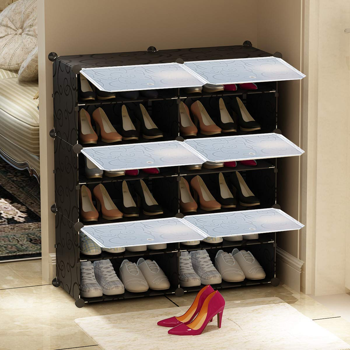 Boots KOUSI Portable Shoe Rack Organizer 20 Pair Tower Shelf Storage Cabinet Stand Expandable for Heels Slippers Black 10 Grids