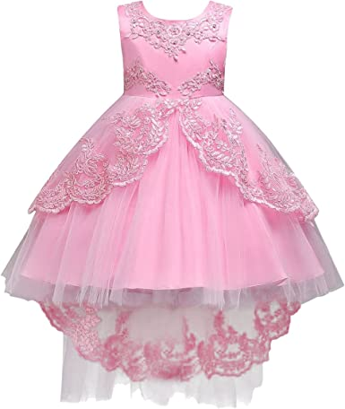 Big Girls Flower Flared Long Maxi Tulle Gown For Formal Party Wedding Prom Dress