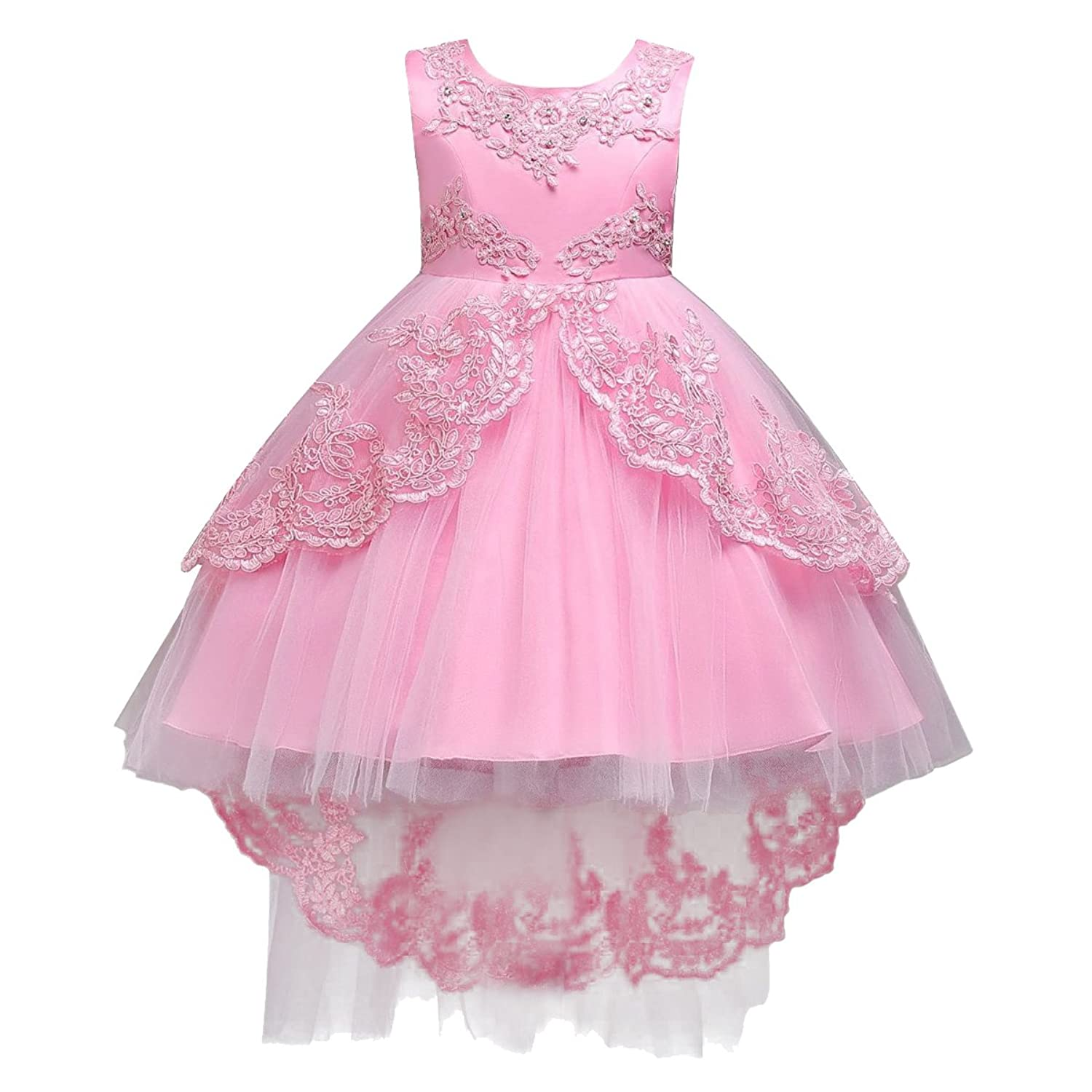 Weddings & Events Flower Girl Dresses Beautiful Children Chiffon Sleeveless Flower Girls Dresses Round Neck High-low Kids Casual Daily Holiday Party Beach Parties Dress