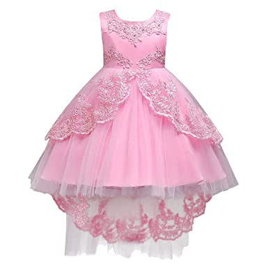 IBTOM CASTLE Little/Big Girls Lace Beaded Rhinestone Bridesmaid Wedding Flower Tulle Dresses Party High