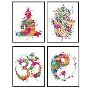 Zen Wall Decor Picture Set for Home, Office, Bedroom, Bathroom, Yoga Studio, Meditation Room - Great Inspirational Gift for Buddhist, Buddha, Hamsa Fatima Hand, Yin Yang, Om Fans - 8x10 Poster Prints