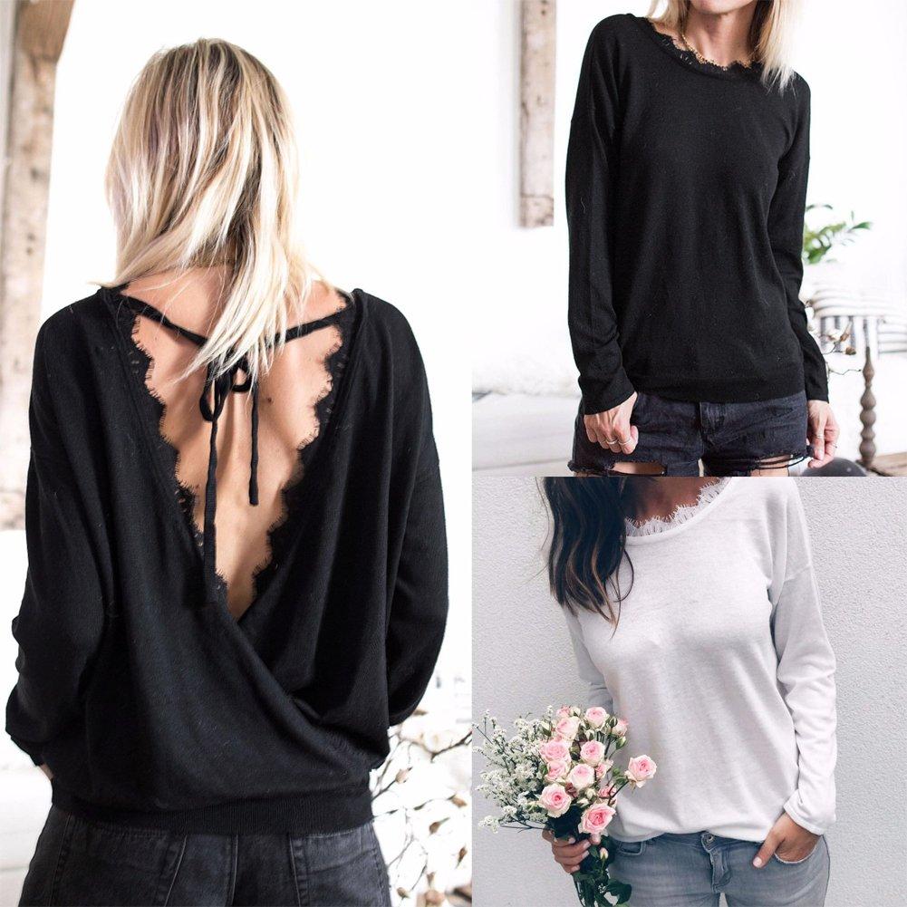 Anself Blusas de Mujer de Moda 2017 Sexy Blusas Camiseta Mujer Negro/Blanco: Amazon.es: Ropa y accesorios