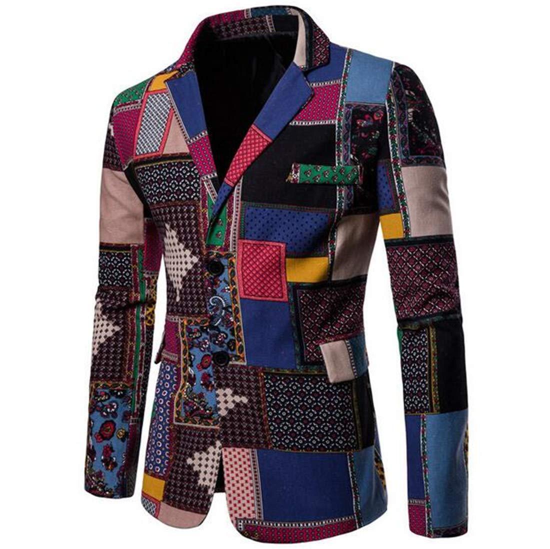Domple Mens Long Sleeve African Dashiki Tuxedo Blazer Jacket Sport Coat Aspic US XL