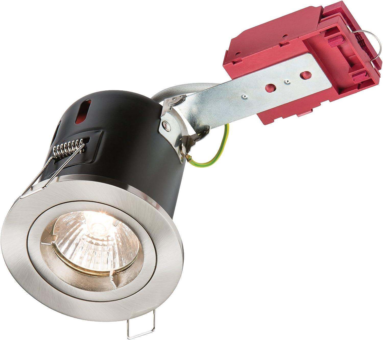 Metal Knightsbridge Tilt GU10 230V 50W IC Fire Rated Downlight-Gimbal-White