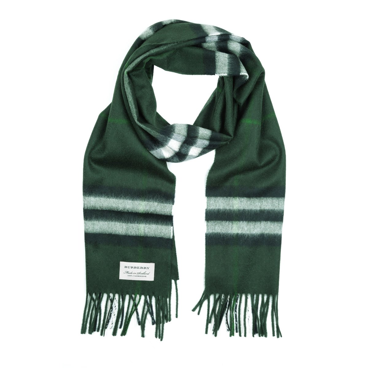 Burberry Women's Classic Check Cashmere Scarf (One Size, Dark Forest Green)