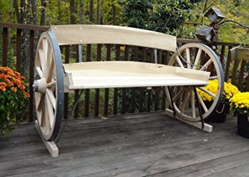 Wagon Wheel Bench Solid Wood Seat Indoor Outdoor Western Chair Garden Yard  Porch Deck Seating Stage