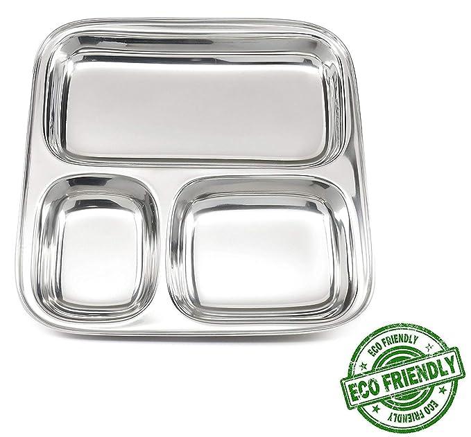 Nexxa - Juego de 8 platos de acero inoxidable para niños, 3 ...