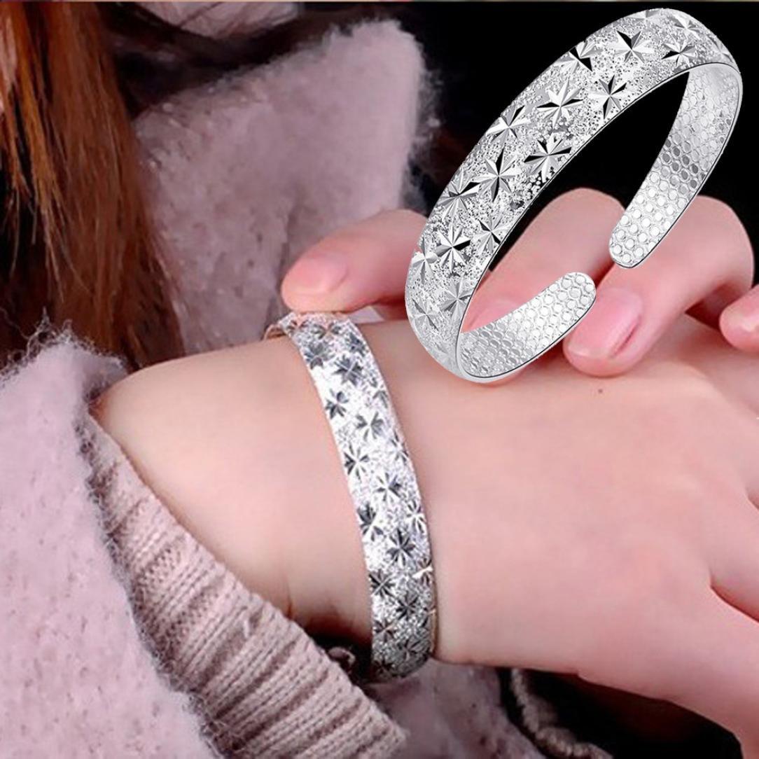 Hemlock 5 PCs Bangle Bracelet, Women 925 Sterling Silver Bracelet Bohemia Jewelry (1 pc Silver-1)