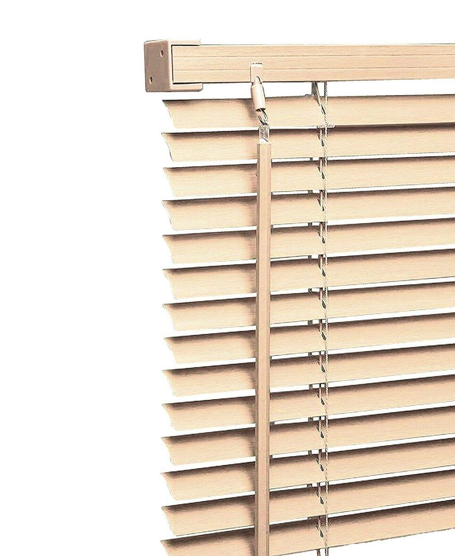 Quality Easy Clean Woodgrain Effect Venetian Blinds in Teak Width 60cm x Drop 150cm