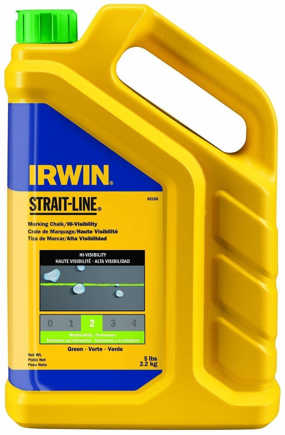 4 Pack Irwin 65106 Strait-Line 5lb Hi-Visibility Marking Chalk - Fluorescent Green (Lime)