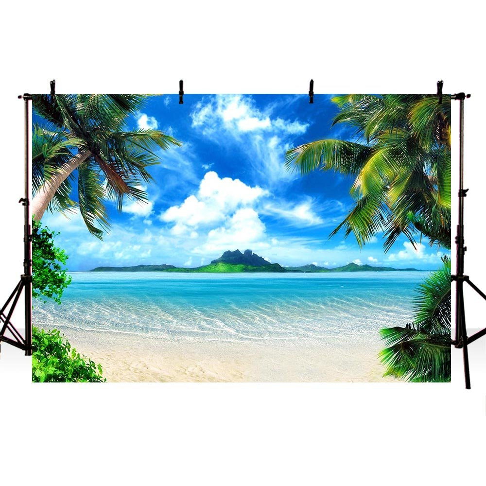 COMOPHOTO Summer Beach Backdrops for Photography 7x5ft Vinyl Blue Sea and Sky Background Palm Trees Photo Backdrop for Photo Booth by COMOPHOTO