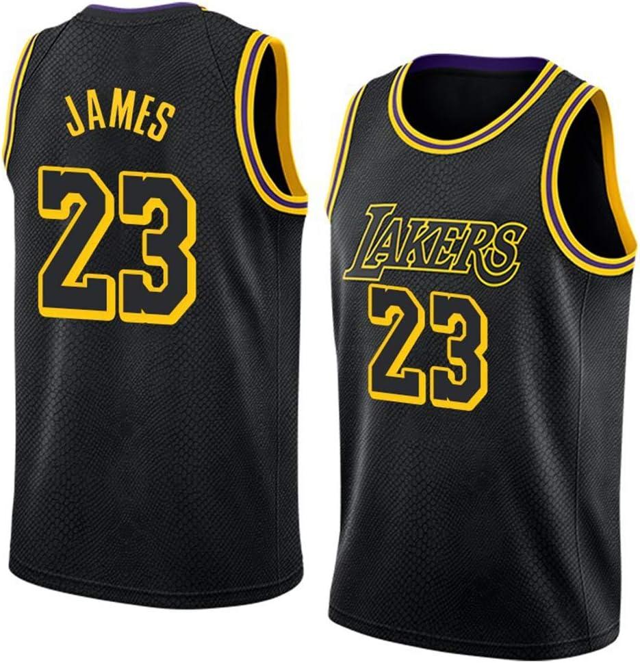 HSLBQFQ Lebron James # 23 Camiseta De Baloncesto Masculino, Baloncesto Lakers Jersey Retro Gimnasia Chaleco Deportes Top,Negro,S