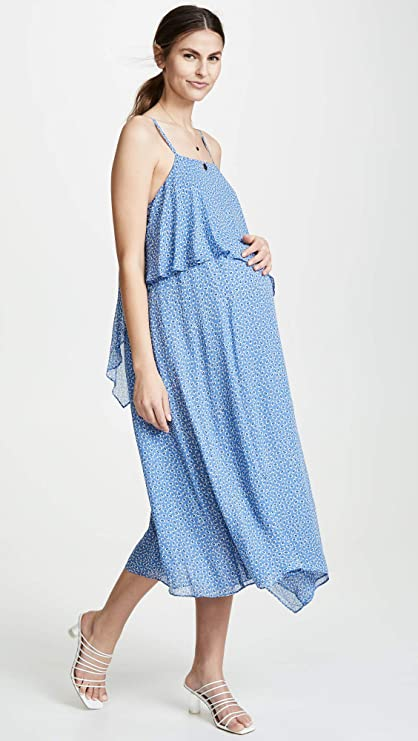 Hatch Maternity Womens The Savina Dress Lapis Daisy