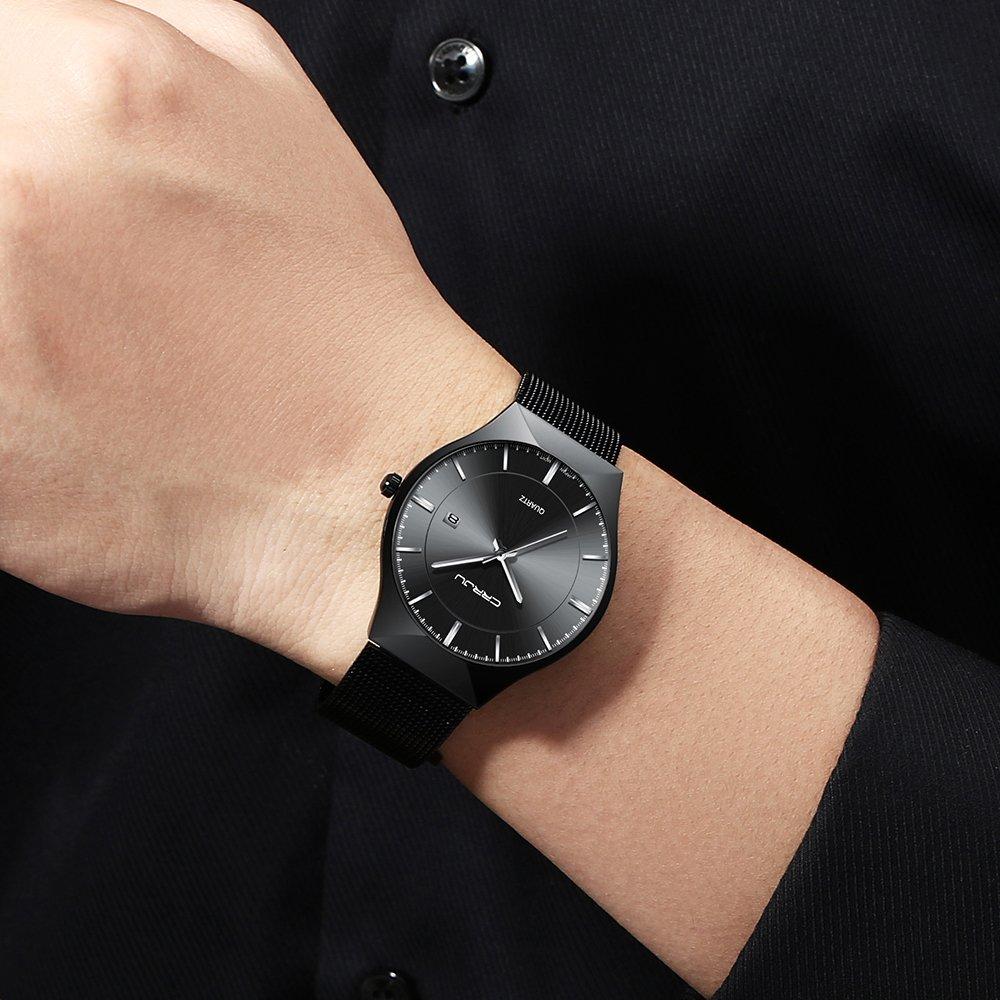 CRRJU Men Business Slim Analog Quartz Watch,Date Black Dial Wrist Watch with Mesh Bracelet Strap by CRRJU (Image #5)