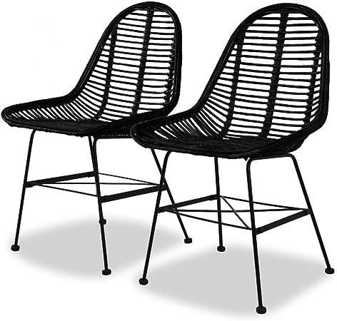 vidaXL 2X Chaise de Salle à Manger Rotin Naturel Noir Fauteuil Meuble de Salon