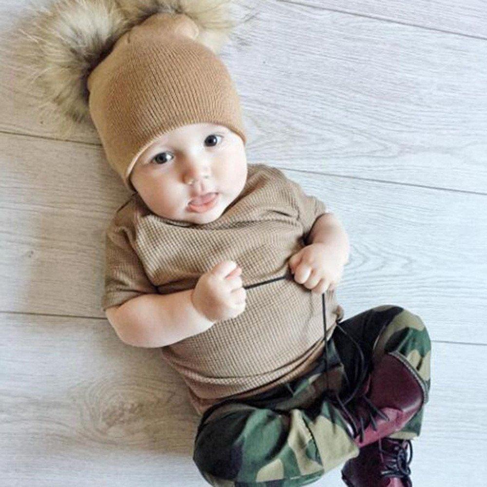 DEELIN Bebé BebéS NiñAs NiñOs Crochet Tejer Invierno Caliente Faux Piel Bola Sombrero Beanie Cap De Gran TamañO Doble Bola De Piel Sombreros De Bola: ...