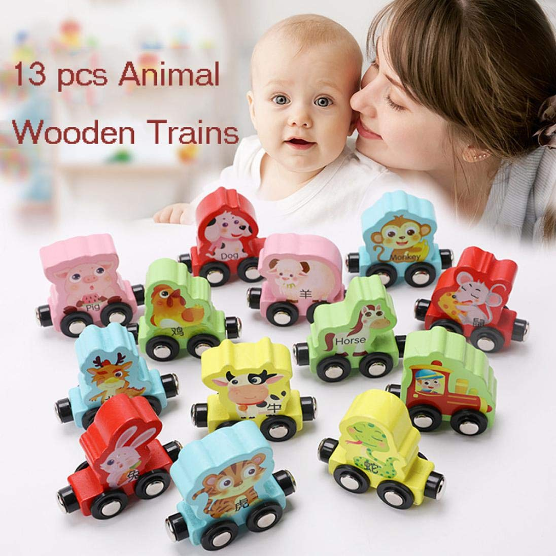 Gbell Kids Toddler Colorful Mini Wooden Train Set - 13Pcs Animal Learning Educational Toy Gifts Toddlers Girls Boys Kids Over 3 Year Old (Multicolor) by Gbell (Image #5)