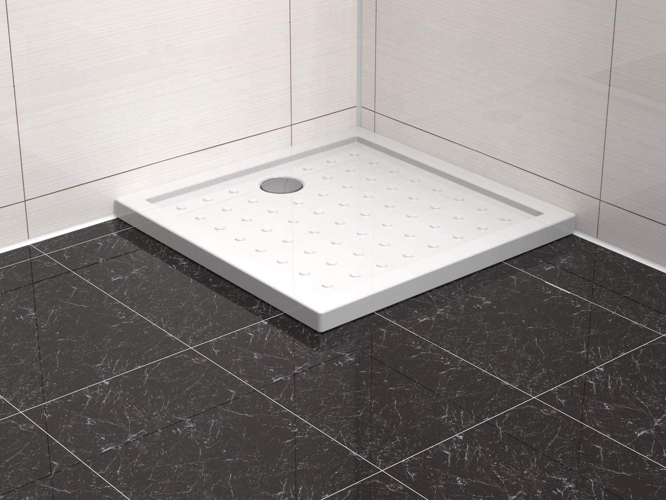 Plato de ducha (acrílico, 80 x 80 cm, cuadrado, incluye desagüe): Amazon.es: Bricolaje y herramientas