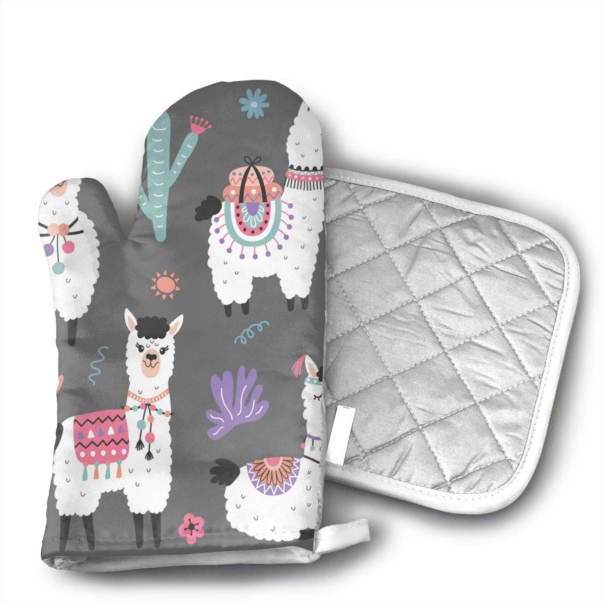 NoveltyGloves Cartoon Llama Alpaca Seamless Pattern Oven Mitts,Professional Heat Resistant Microwave BBQ Oven Insulation Thickening Cotton Gloves Baking Pot Mitts Soft Inner Lining Kitchen Cooking