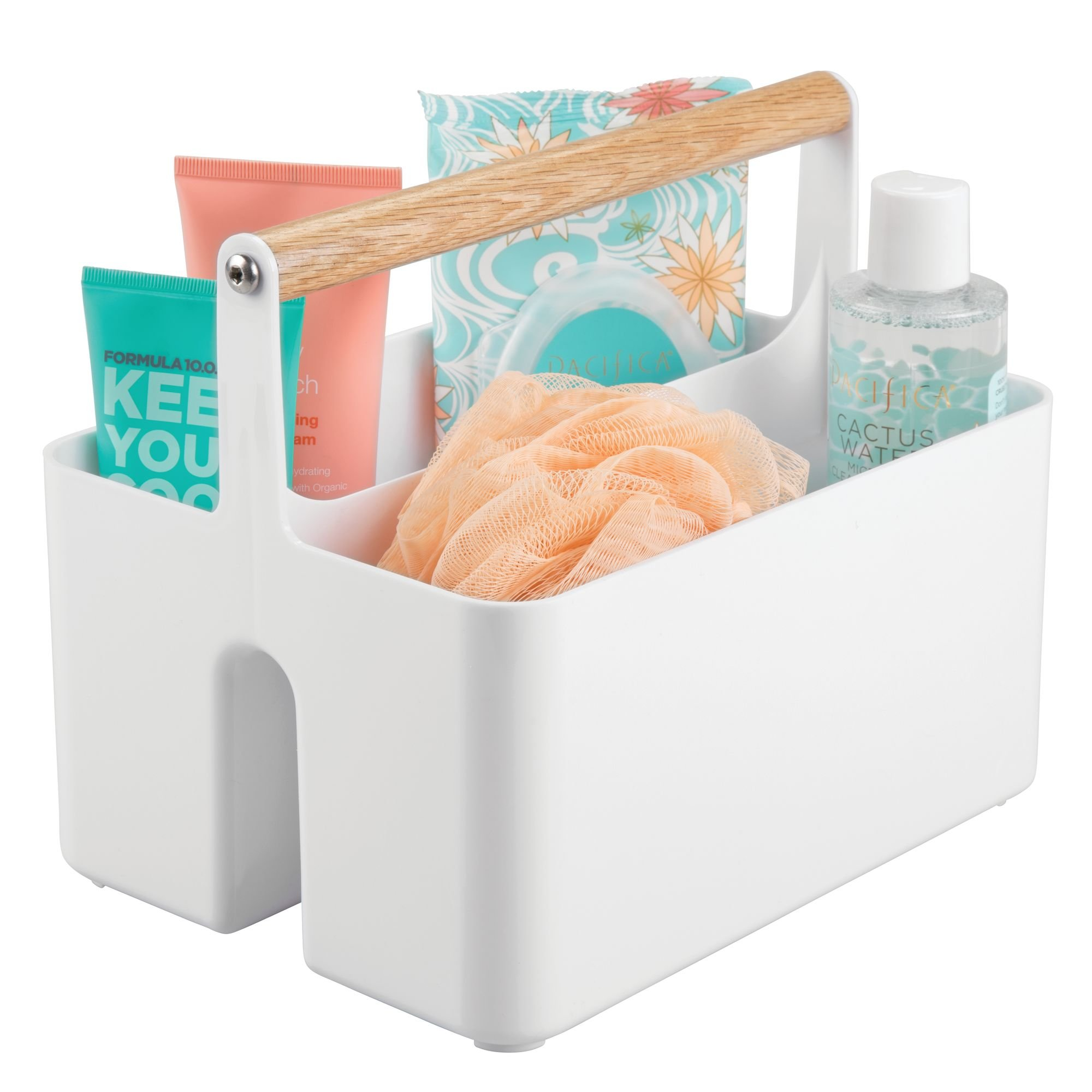 mDesign Bathroom Storage Organizer Caddy Tote, Portable Divided Basket Bin with Natural Wood Handle - BPA Free, 2 Sections for Holding Hand Soap, Body Wash, Shampoo, Conditioner, Lotion - White