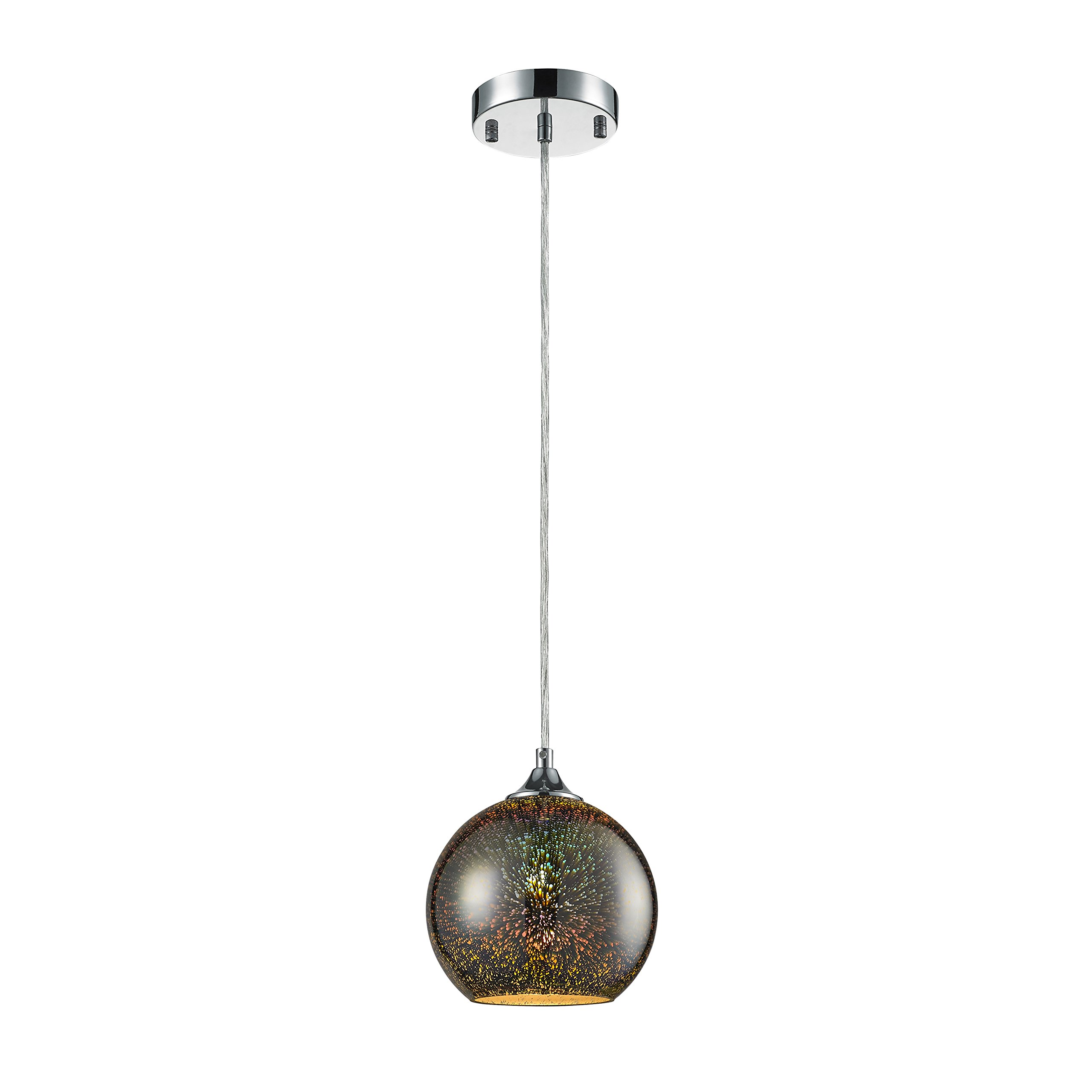 "SereneLife Home Lighting Fixture - 7.1"" Circular Sphere Shaped Dome Pendant Hanging Lamp Ceiling Light with Sculpted Glass Accent, Adjustable Length and Screw-in Bulb Socket (SLLMP11)"
