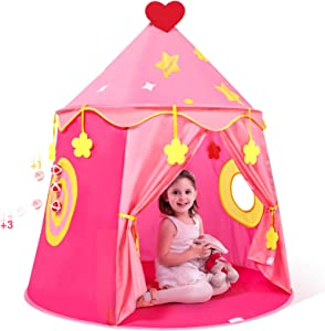 Peradix Kids Play Tent, Princess Castle Tent for Girls, Children Pop Up Foldable Play House Ball Pit Toddler Playhouse Indoor & Outdoor Pitching Activity Games(Storage Carrying Bag Included, Pink)