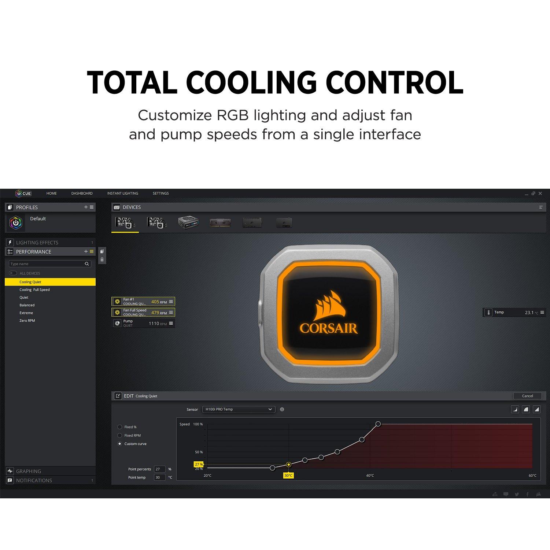 CORSAIR HYDRO Series H100i PRO RGB AIO Liquid CPU Cooler, 240mm, Dual ML120 PWM Fans, Intel 115x/2066, AMD AM4 by Corsair (Image #4)