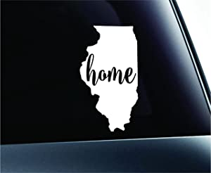 #3 Home Illinois State Springfield Symbol Sticker Decal Car Truck Window Computer Laptop (White)