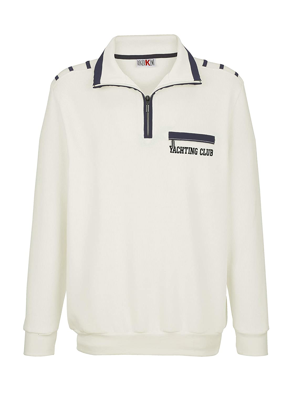 Roger Kent Herren Sweatshirt Baumwolle mit Kontrastdetails Hautsympathisch 52
