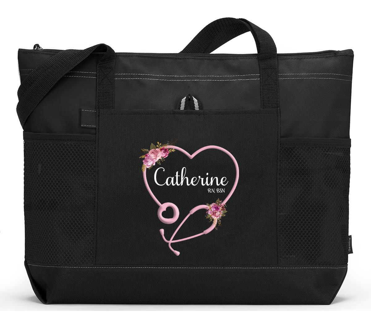 Personalized Nurse with Heart Stethoscope, CNA, RN, LPN Tote Bag with Mesh Pockets