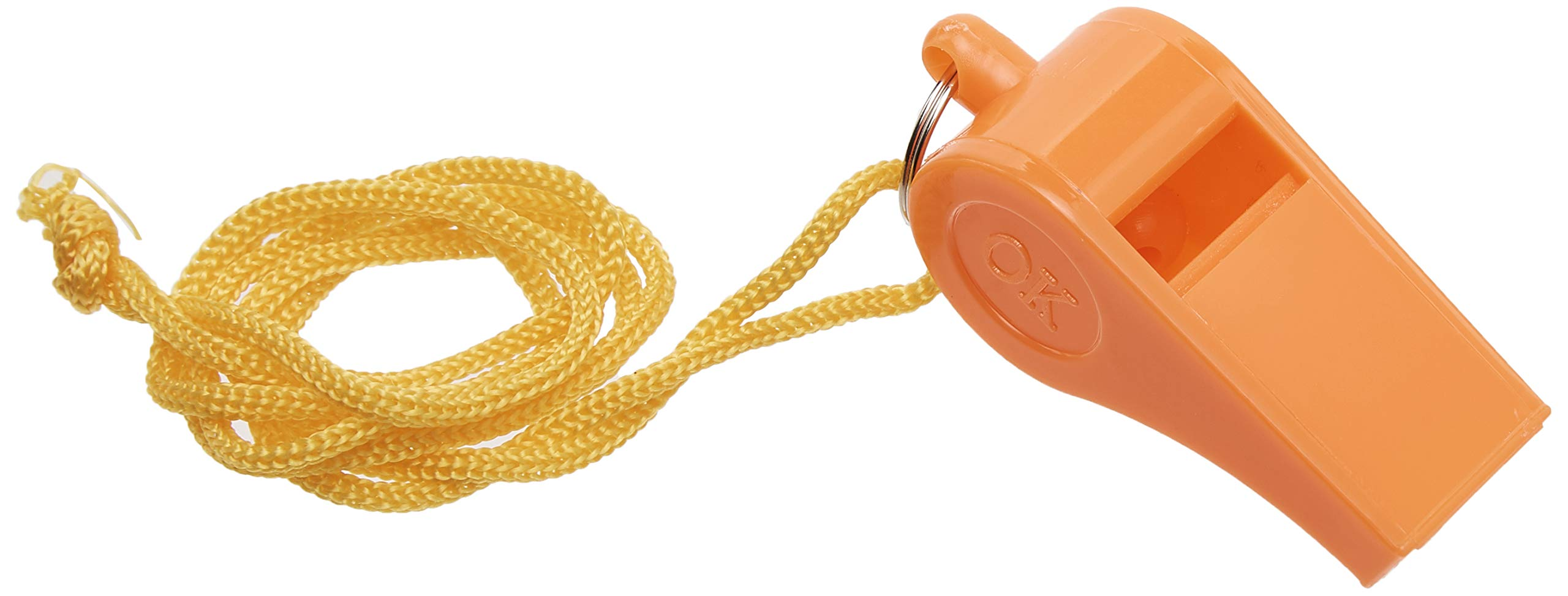 Bulk Lot of 100 NEW Safety Plastic Whistle with Lanyard Orange/Yellow by SE