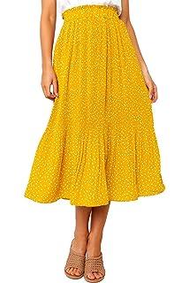 bc49de8670 PRETTYGARDEN Women's Fashion High Elastic Waist Polka Dot Printed Pleated  Midi Vintage Skirts with Pockets