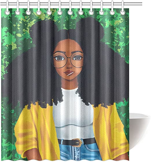 12 hooks Shower Curtain Decor Set African Woman Print Cartoon Bath Curtains