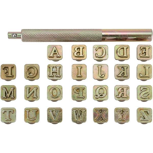 36pcs 13mm Metal Leather Stamp Set Punch Vintage Design Alphabet 26 Letters /& 10 Numbers Punch DIY Leathercraft Tool 6.5mm
